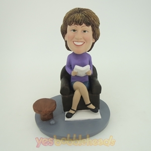 Picture of Custom Bobblehead Doll: Woman Sitting & Reading