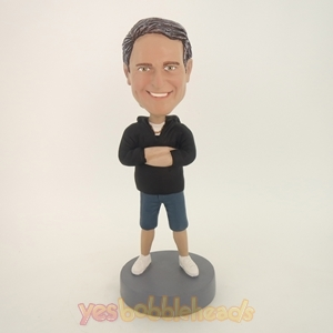 Picture of Custom Bobblehead Doll: Smiling Casual Man  Hands On Chest