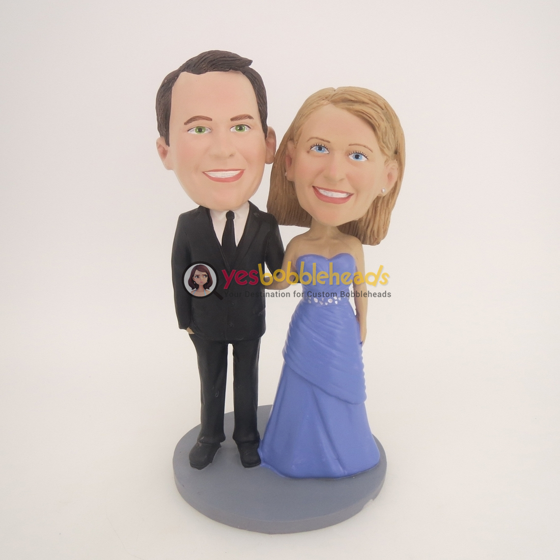 Picture of Custom Bobblehead Doll: Black Suit Groom & Purple Dress Bride
