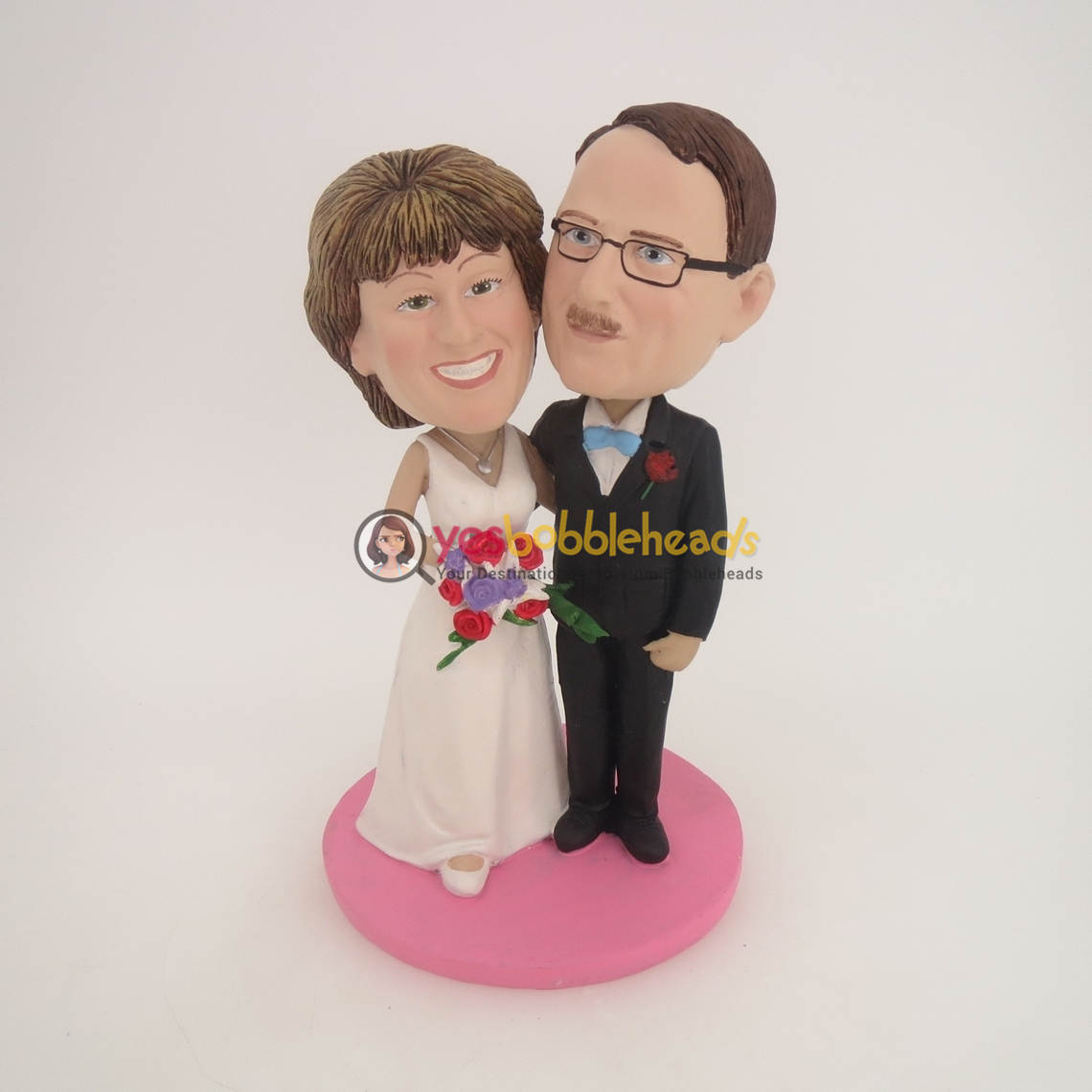 Picture of Custom Bobblehead Doll: Black Suit & White Wedding Dress Arms Crossed Wedding Couple