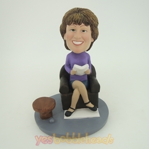 Picture of Custom Bobblehead Doll: Elegant Woman Sitting & Reading