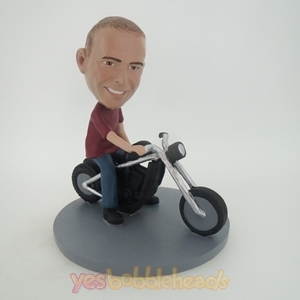 Picture of Custom Bobblehead Doll: Man Riding A Motorcycle