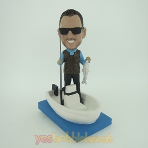 Picture of Custom Bobblehead Doll: Happy Fishing Man In Boat
