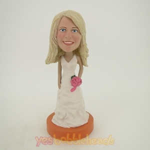 Picture of Custom Bobblehead Doll: Pretty Girl Wearing White Dress
