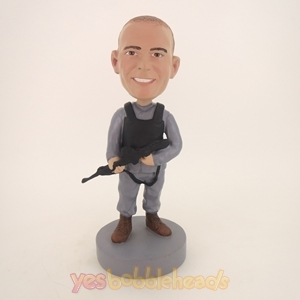 Picture of Custom Bobblehead Doll: Policeman With A Machine Gun