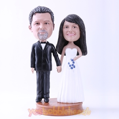 Picture of Custom Bobblehead Doll: Black Suit Groom and White Dressed Bride on Wedding