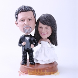 Picture of Custom Bobblehead Doll: Black Suit Groom and White Dressed Bride