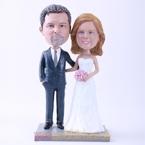 "Picture of Custom Bobblehead Doll: Bride and Groom Arm in Arm (About 9"" Tall)"