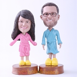 Picture of Custom Bobblehead Doll: Couple in Bathrobes