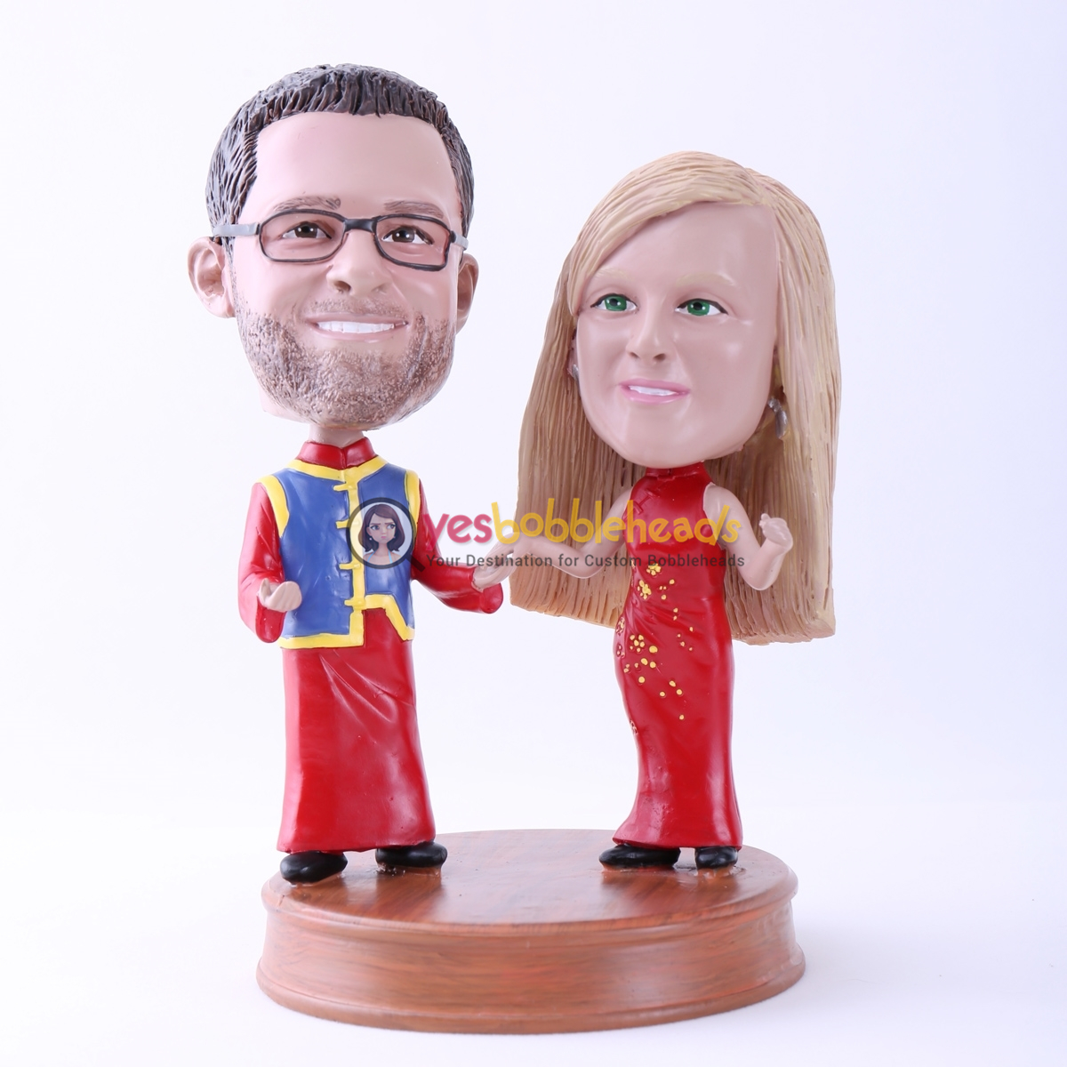 Picture of Custom Bobblehead Doll: Couple in Traditional Chinese Clothing
