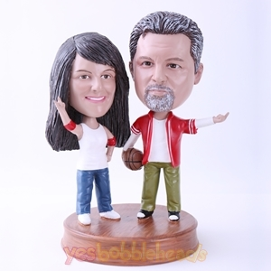 Picture of Custom Bobblehead Doll: Couple Playing Basketball