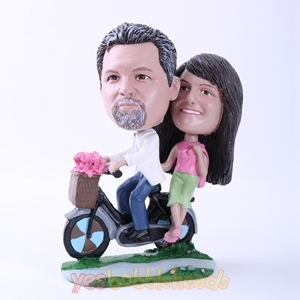 Picture of Custom Bobblehead Doll: Couple Riding A Bike