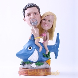 Picture of Custom Bobblehead Doll: Couple Riding A Shark