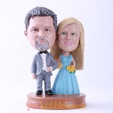 Picture of Custom Bobblehead Doll: Gray Suit Groom and Blue Dressed Bride