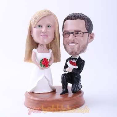 Picture of Custom Bobblehead Doll: Groom Down on One Knee to Marry