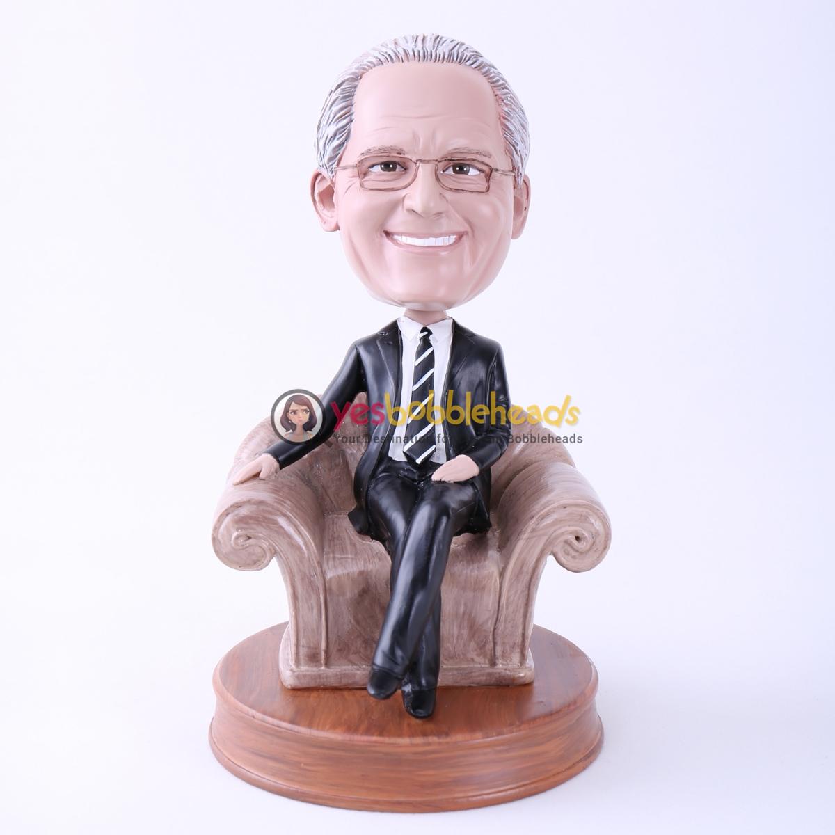 Picture of Custom Bobblehead Doll: Black Suit Man in Sofa