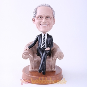 Picture of Custom Bobblehead Doll: Black Suit Man in Sofa