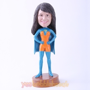 Picture of Custom Bobblehead Doll: Blue Superhero  Woman
