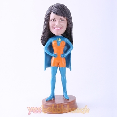 Picture of Custom Bobblehead Doll: Blue Superhero  Woman