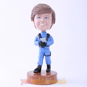 Picture of Custom Bobblehead Doll: Blue Uniform Man with Gun