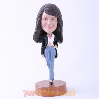 Picture of Custom Bobblehead Doll: Casual Woman Walking