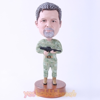 Picture of Custom Bobblehead Doll: Cool Marines Holding Gun
