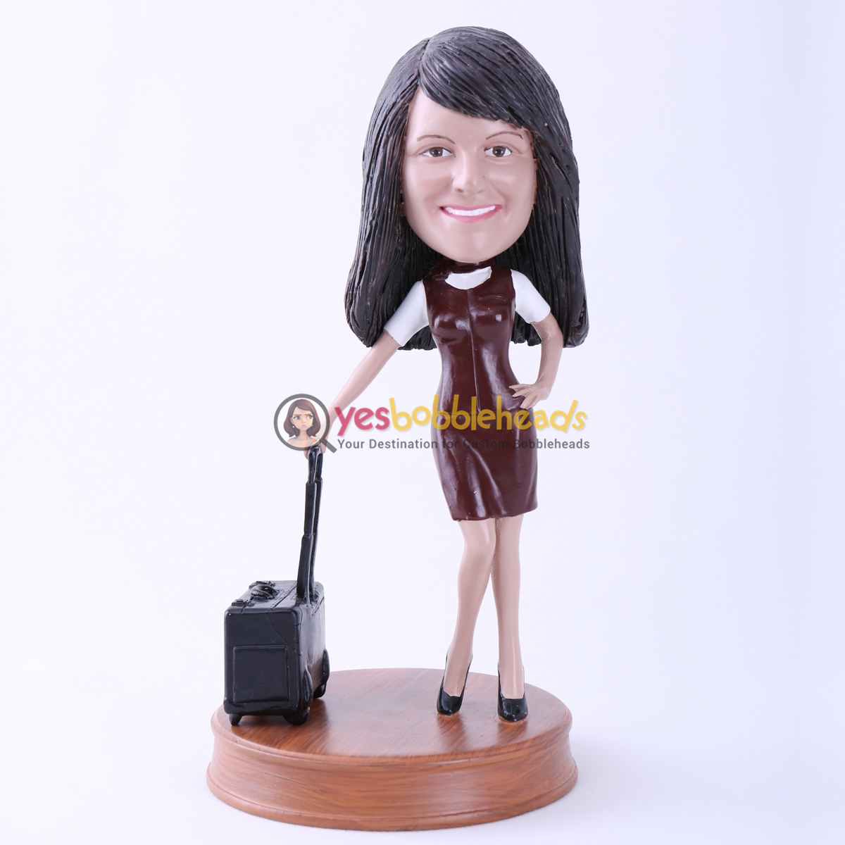 Picture of Custom Bobblehead Doll: Flight Attendant with Case
