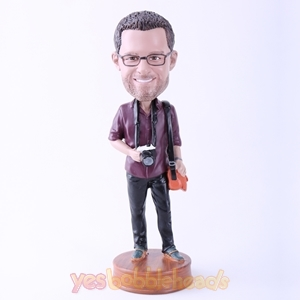 "Picture of Custom Bobblehead Doll: Male Tourist with Camera (About 9"" Tall)"