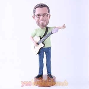 "Picture of Custom Bobblehead Doll: Man Happily Playing Guitar (About 9"" Tall)"