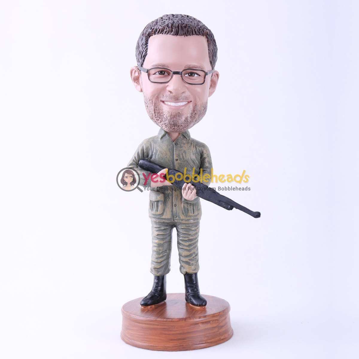 Picture of Custom Bobblehead Doll: Man Holding Rifle