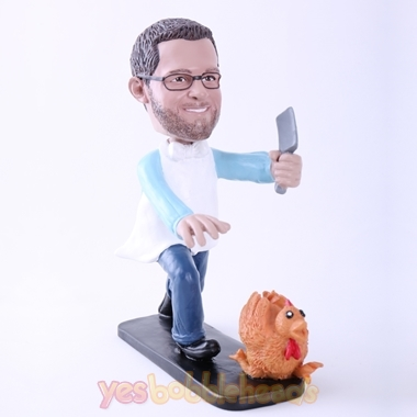 "Picture of Custom Bobblehead Doll: Man Killing Turkey (About 9"" Tall)"