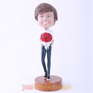 Picture of Custom Bobblehead Doll: Man with Bouquet of Roses