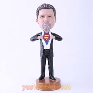 Picture of Custom Bobblehead Doll: Man Opening Up Chest Showing Braveness