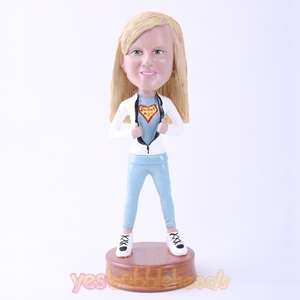 Picture of Custom Bobblehead Doll: Girl Opening Up Chest Showing Braveness