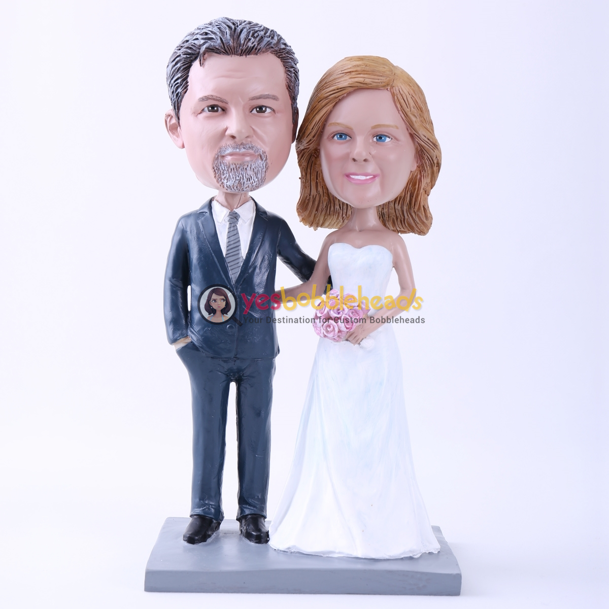 Picture of Custom Bobblehead Doll: Bride & Groom Arm in Arm