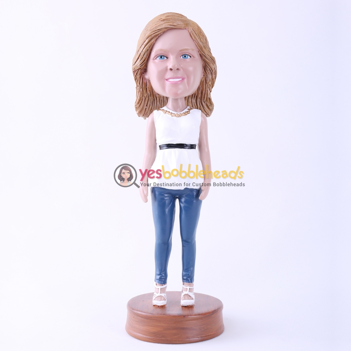 Picture of Custom Bobblehead Doll: White Clothes Casual Woman