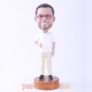 Picture of Custom Bobblehead Doll: White T-shirt Casual Man