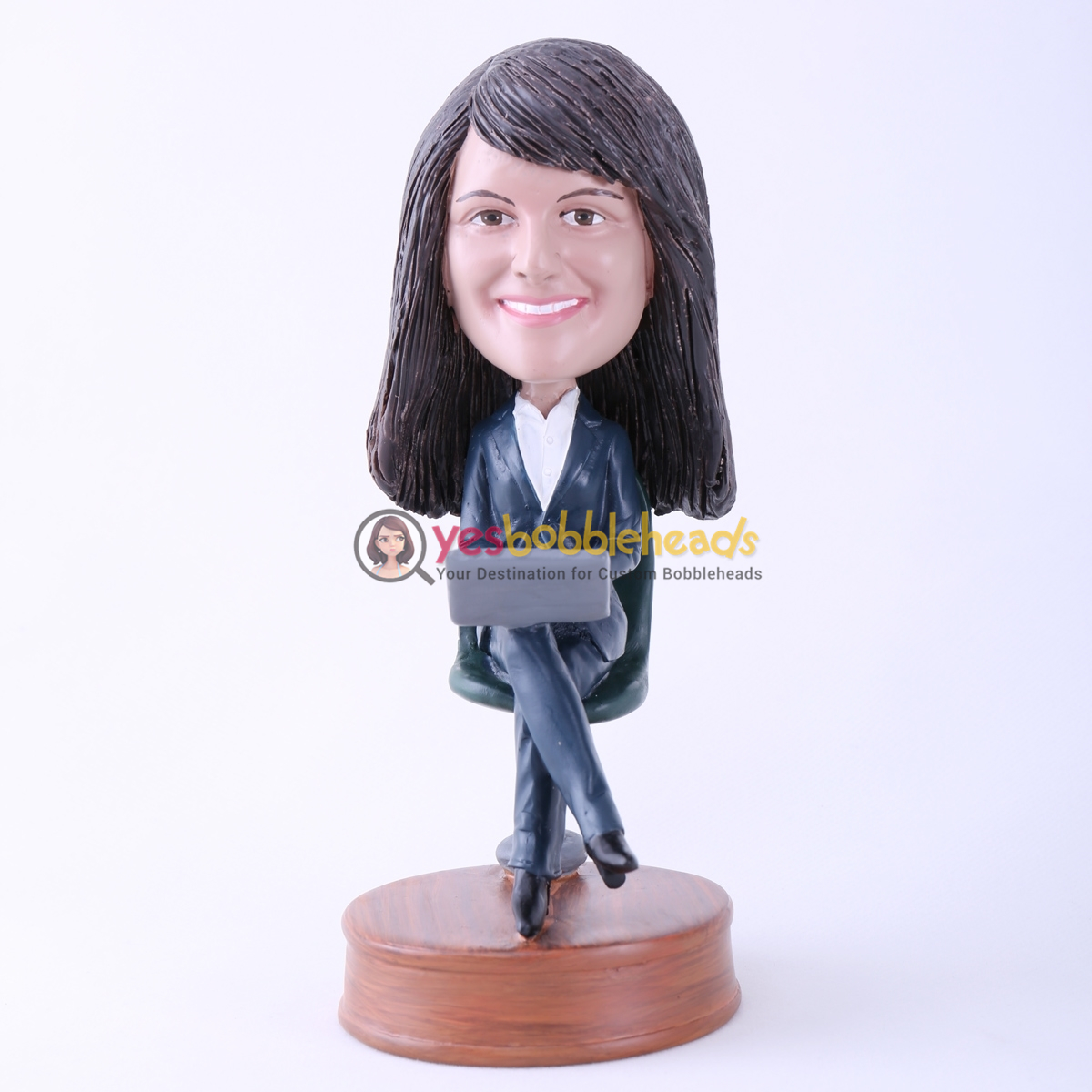 Picture of Custom Bobblehead Doll: Woman in Chair with Laptop