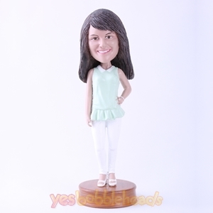Picture of Custom Bobblehead Doll: Young Lady Standing Up Gracefully