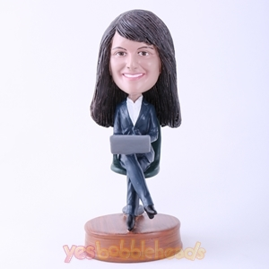 Picture of Custom Bobblehead Doll: Office Lady Sitting in Chair Working
