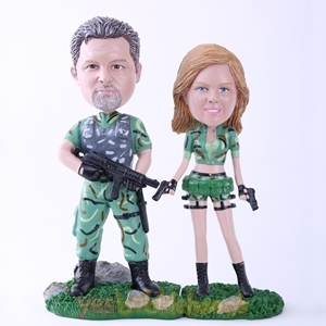Picture of Custom Bobblehead Doll: Soldier Couple Ready for Action