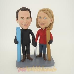 Picture of Custom Bobblehead Doll: Ski Lover Couple