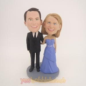 Picture of Custom Bobblehead Doll: Black Suit Groom And Purple Dress Bride