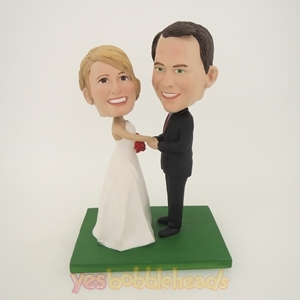 Picture of Custom Bobblehead Doll: Groom Holding Bride's Hands on Wedding