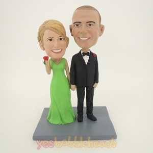 Picture of Custom Bobblehead Doll: Hands In Hands Wedding Couple