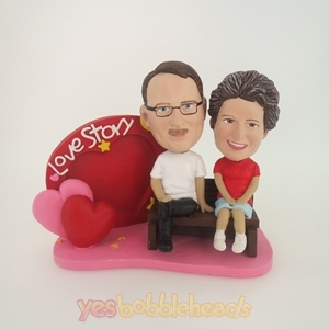 Picture of Custom Bobblehead Doll: Love Story Couple Sitting Together