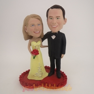 Picture of Custom Bobblehead Doll: Sweet Wedding Couple Standing On Love Heart
