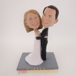 Picture of Custom Bobblehead Doll: Wedding Couple Happily Holding Each Other