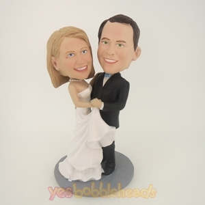 Picture of Custom Bobblehead Doll: Wedding Couple Holding Each Other Together