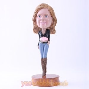 Picture of Custom Bobblehead Doll: Fashionable Young Lady in Jeans